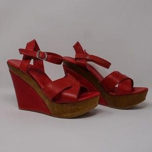 Red Leather High Heel Platform Wedge 7 Club Strap